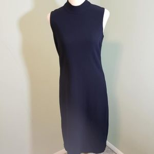 Navy Sleeveless Long Turtle Neck Dress